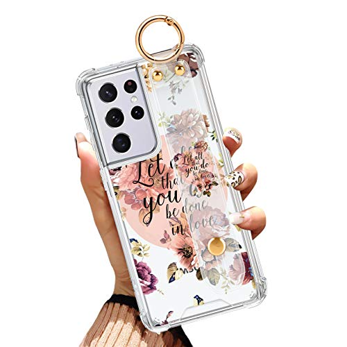 Samsung Galaxy S21 Ultra Clear Case 6.8 Inch Anti-Yellow Reinforced Corners Full Protective Slim Phone Cover with Design Christian Quotes Holy Bible Verse Flower Floral Case with Wrist Strap Lanyard