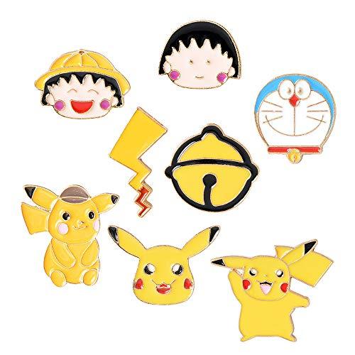 Juego de 8 alfileres de solapa esmaltados con diseño de dibujos animados, diseño de gato, para bolsas de ropa, mochilas, sombreros, manualidades