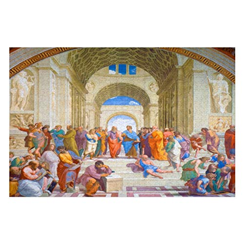 The School of Athens Raphael Puzzles for Adults, 1000 Piece Kids Jigsaw Puzzles Game Toys Gift for Children Boys and Girls, 20
