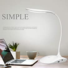 Figment Plastic Rechargeable LED Desk Lamp, White, Pack of 1 Light, 1 USB charging line