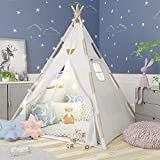 Tacobear Teepee Tent Kids Foldable Play Tent for Children Girl Boys with Star String Lights Feather Carry Case White Canvas Playhouse Princess Castle for Indoor and Outdoor Playing