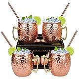 Hossejoy Juego de 4 vasos de cobre Moscow Mule, 530 ml, 4 pajitas en caja de regalo, ideal para cócteles o bebidas frías