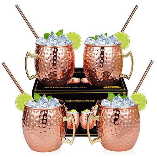 Widousy Moscow Mule Copper Mugs - Set of 4-HANDCRAFTED - Solid Copper Mugs 16 oz Gift Set with BONUS :4 Cocktail Copper Straws