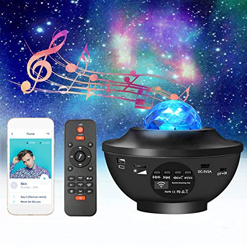 Sternenhimmel projektor Starry projector light mit Fernbedienung Bluetooth Lautsprecher, Sternen Wasserwellen Night Light Projector für Baby Kinder Schlafzimmer Wohnzimmer Party