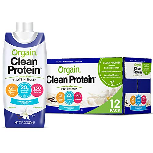 Orgain Grass Fed Clean Protein Shake, Vanilla Bean - Meal Replacement, Ready to Drink, Gluten Free, Soy Free, Kosher, Non-GMO, 11 oz, 12 Count (Packaging May Vary)