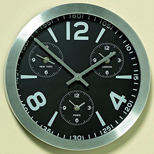 Unbekannt Moderne Wanduhr Rund Silber Kontur DREI zusätzlichen Zeitzonen