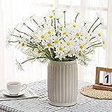 huaao Künstliche Blumen Gänseblümchen 10PCS Kunstblumen Deko Seidenblumen Plastik Sträucher Unechte Blumen für Innen Draussen Vase Balkon Zuhause Garten Weiß