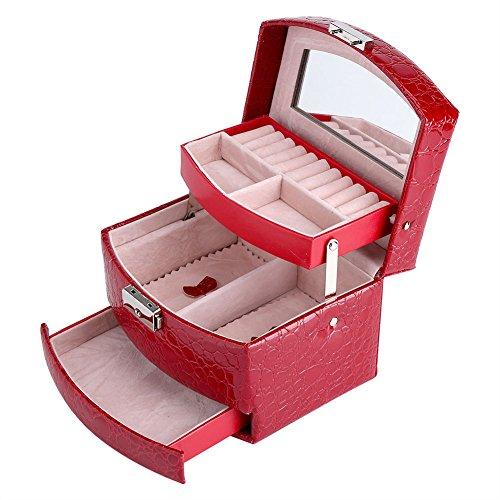Caja de Joyería de 3 Capas con Espejo y Mango Caja Joyero para Collar Anillos Collar Broches Pulsera