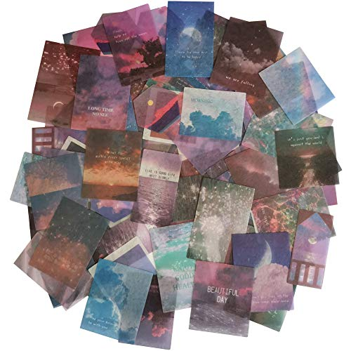 Kawaii Washi Paper Stickers Set (100 Pieces) Moon Star Starry Light Colorful Sky Cloud Sea Surface Decals for Arts and Crafts DIY Stationery Scrapbooking Journaling Planners Letters Cards