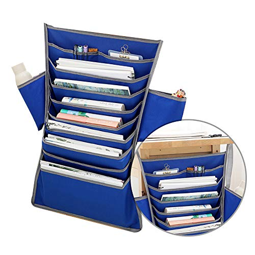 Multifunktionale Schreibtisch Seite Hängen Tasche Oxford Stoff Buch Taschen Papier Sorter File Organizer für Brille Spielzeug Tissue Blau