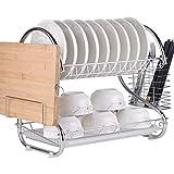 YIRE dish rack Moderno Y Moderno Acabado De Cromo, Acero Inoxidable, 2 Capas De Cocina...
