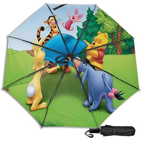 Paraguas Compacto Anti-Ultravioleta De Viaje Plegable Manual De Apertura/Cierre, Sombrilla Plegable Ligera para Exteriores A Prueba De Viento, Disney Winnie Pooh Eeyore Trampolín