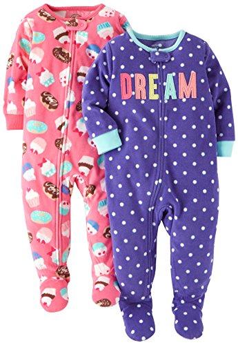 Carter's Baby Girls' 2-Pack Fleece Pajamas, Purple Dot/Pink Cupcakes, 12 Months