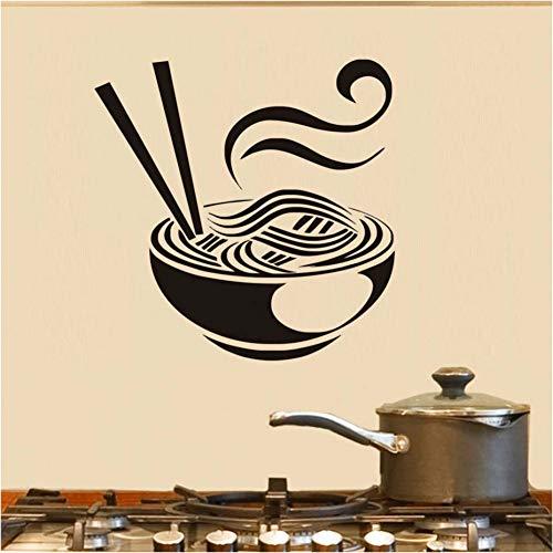 SHKL Muursticker voor keuken, creatief koken van PVC, een kom van Noodles Decal Art Wandschildering, 44 cm x 44 cm