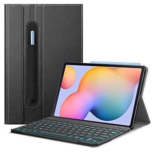 Fintie Beleuchtete Tastatur Hülle für Samsung Galaxy Tab S6 Lite 10,4 Zoll 2020 - Schutzhülle mit Abnehmbarer QWERTZ Tastatur mit Hintergrundbeleuchtung für Samsung Tablet SM-P610/ P615, Schwarz