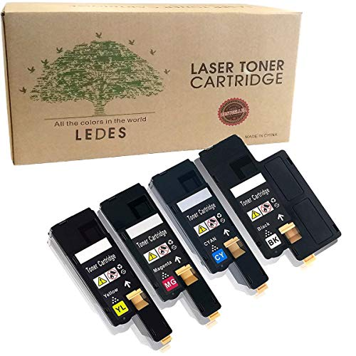 Ledes Compatible Toner Cartridge Replacement for Dell E525W E525 to use with E525W Color Laser Printer for 593-BBJX 593-BBJU 593-BBJV 593-BBJW (Black Cyan Magenta Yellow, 4 Pack)