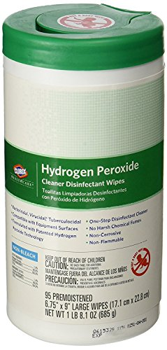 Clorox 30824SPG Saalfeld 30824 Healthcare Hydrogen Peroxide Cleaner Disinfectant Wipes, 6.75' x 9', XL Wipe, 4.2' H, 4.2' W, 8.4' L, Cleaner (Pack of 570)
