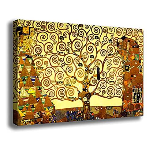 Quadro Moderno stile KLIMT Albero della Vita Quadri moderni da Parete Stampa su tela Canvas Decorazione muro Murale pittori arte Soggiorno Arredo Camera da letto Cucina (Klimt, 20x30 centimetri)
