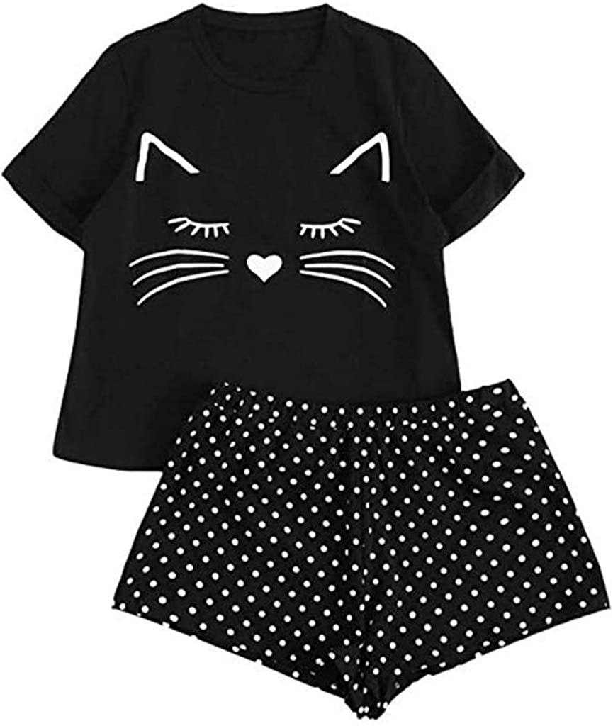 Forwelly Women Girl Cute Lingerie Sleepwear Fashion Cat Print Short Sleeve Top and Boyshort 2Pcs Sets Nightgown Pajama S-XL