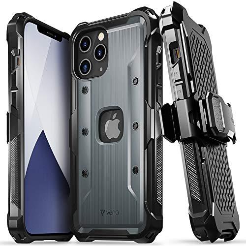 Vena vArmor Rugged Funda Antigolpes Compatible con Apple iPhone 12 Pro MAX (6.7'-Inch), (Military Grade, Drop Protection) Armor Protección Clip de Cinturón Carcasa con Soporte- Gris