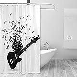 MALPLENA Duschvorhang Besondere Gitarre Bad Vorhang mit Haken ungiftig & wasserabweisend Badezimmer Decor Sets Hochzeit Geschenke für Männer & Frauen Polyester Stoff 152,4 x 182,9 cm