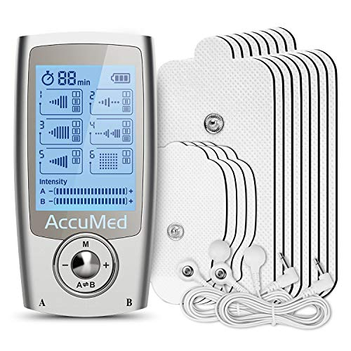 AccuMed Rechargeable Tens Unit Muscle Stimulator EMS Electronic Pulse Massager Stim Machine for Physical Therapy Back and Neck Pain Relief Portable Electric Tinge Electro-Therapy 16 Modes (AP212)