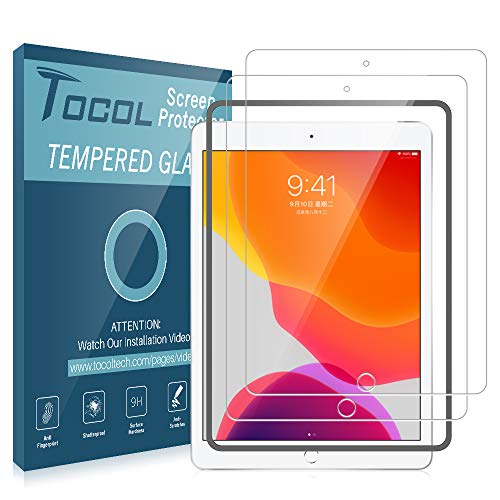 TOCOL [2Pack] for Apple iPad 10.2 inch (7th Generation 2019) Screen Protector Tempered Glass [9H Hardness] HD Clarity Apple Pencil Compatible with Easy Installation Frame
