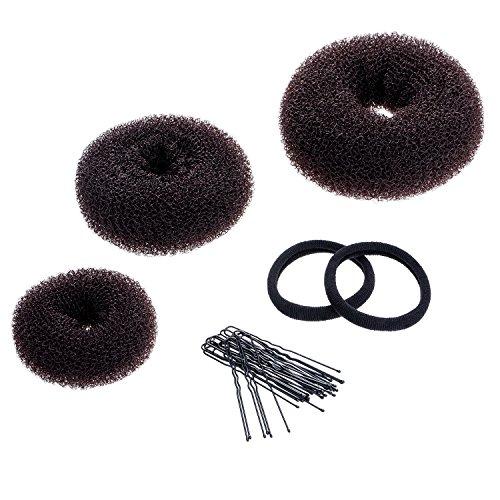 3 Stück Brötchen Maker Haar Knotenring Stil Bun Hersteller Set für Chignon Haar enthalten Groß, Mittler und Klein, Braun