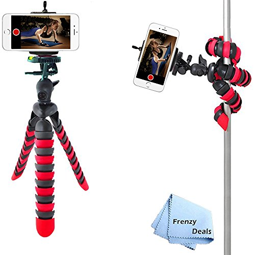 "12"" Inch Tripod w/Flexible Spider Disc Legs with Quick Release Plate and Bubble Level for All Smartphones, and Cameras + Frenzy Deals Microfiber Cloth"