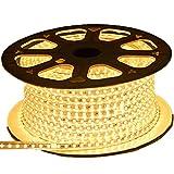 Viktion - 220V 10m SMD 5050 LED Ruban Bande Strip étanche flexible sécable 600 LEDs éclairage - utiliser directement pas besoin de l'adapteur, plus pratique (Blanc chaud)