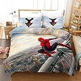 Spider Man Housse de Couette 220x240 cm Parure de Lit en Microfibre 2 Personnes, Bedding Set avec Fermeture Éclair + 2 Taies d'Oreillers 65x65cm Entretien Facile, Tissus Doux et hypoallergéniques
