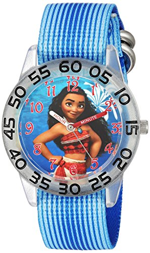 DISNEY Girls' Moana Analog-Quartz Watch with Nylon Strap, Blue, 16 (Model: WDS000043)