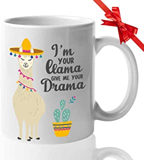 Counselor Coffee 11oz Mug - Funny Gifts for Guidance Counselors Mental Therapist - Freud Freudian Psychology - School Psychologist Psychiatrist Cup - I am your Llama Give me your Drama