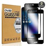 Owbbb® - Protector de pantalla de cristal templado para Asus Zenfone 4 Selfie ZD553KL (2 unidades), color negro