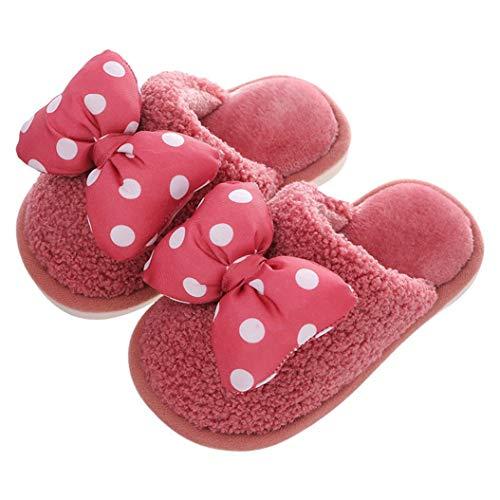 [Atexiu] キッズ ルームシューズ 女の子 スリッパ 室内履き あったか シューズ 冬 防寒 キッズ シューズ 可愛い リボン飾り 子供靴 スイカレッド 19.5cm