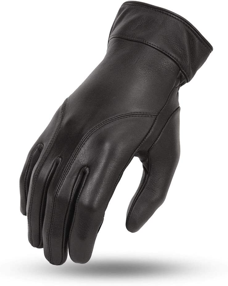 First MFG - Ladies Protective Motorbike Motorcycle Leather Gauntlet Gloves With Gel Padding (Black, Large)