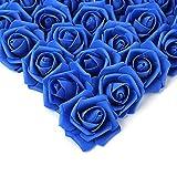 100 cabezas de rosas artificiales de espuma para decoración de cumpleaños, DIY, bodas, cumpleaños, ramos de novia, centros de mesa, decoración de fiesta (azul)
