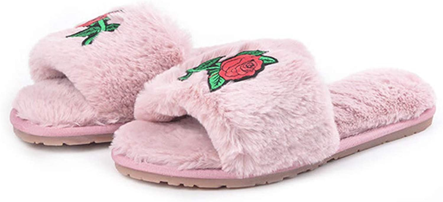 Zarbrina Women's Comfort Slippers Embroidered Flowers Fur Plush Lining Slip-on Anti Slip Indoor House shoes