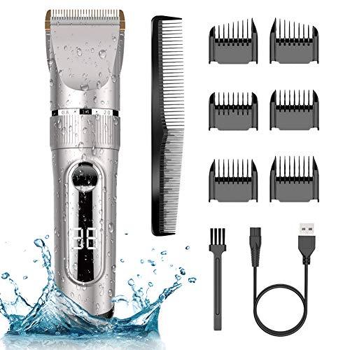 Tondeuse Cheveux Professionnelle IPX7 Tondeuse à Cheveux LCD de Lame Céramique avec Peigne de Réglage Motorisé 3/6/9/12 mm Imperméable Rechargeable pour Domicile ou Coiffeur
