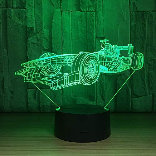 Cool Sport Racing Car 3D Lámpara Led Sensor táctil Luz nocturna 3D para fanáticos de los deportes El mejor regalo Lámpara de iluminación que cambia de 7 colores
