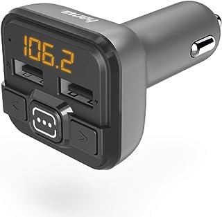 Hama Bluetooth FM Transmitter fürs Autoradio mit Kfz Ladegerät (Auto Adapter für Zigarettenanzünder Buchse mit Anschlüssen für microSD, USB Stick und zum Laden, wireless Bluetooth Transmitter) grau