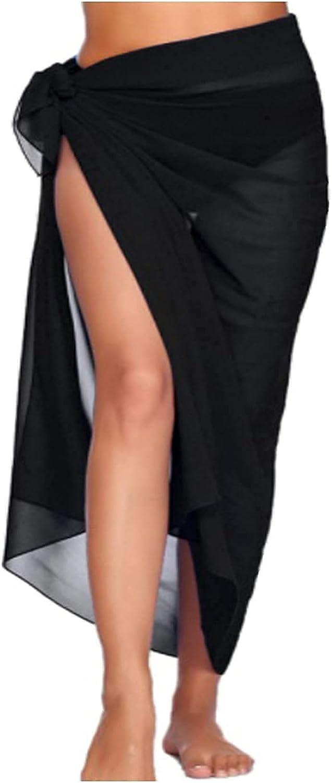 Beach Sarong Pareo Womens Chiffon Scarf Semi-Sheer Swimwear Cover Ups Long Beach Tie Wrap Skirt Black