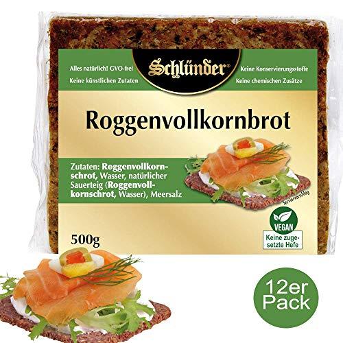 Schlünder Roggenvollkornbrot - klassisches Vollkornbrot aus Roggen, 100% natürlich & vegan, reich an Ballaststoffen & komplexen Kohlenhydraten, Bäckerbrot made in Germany, 12x500g