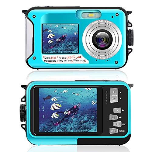 Unterwasserkamera Digital Wasserdicht 2,7K 24 MP HD wiederaufladbare Kamera 16X Digitalzoom Digitalkamera mit Selfie Dual Screen DV wasserdichte Kamera