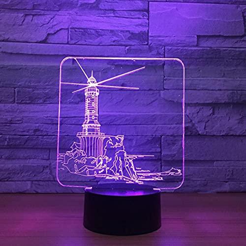 Faro Lámparas De Dormitorio, Lámpara De Ilusión Luz De Noche Led 3D Decoración De 7 Colores Óptica Luces De Mesa Iluminación Nocturna Lámpara De Escritorio