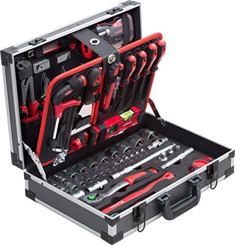 Meister Werkzeugkoffer 131-teilig - Stabiler Alu-Koffer - Werkzeug-Set - Für Haushalt, Garage & Werkstatt / Profi Werkzeugkoffer befüllt / Werkzeugkiste / Werkzeugbox komplett mit Werkzeug / 8971470