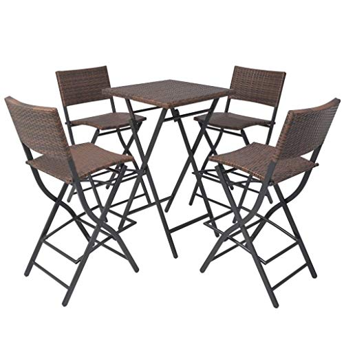Tidyard 5 Piece Outdoor Rattan Bar Set Folding Bistro Set with Integrated Footrests Steel Poly Rattan Weather-Resistant and Waterproof Lightweight Brown