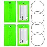 CSTOM Flexibel Kofferanhänger Gepäckanhänger Kofferschild - Fluorescent Grün, 4 Stück