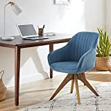 Art Leon Mid-Century Modern Swivel Accent Chair Lily Sky Blue with...