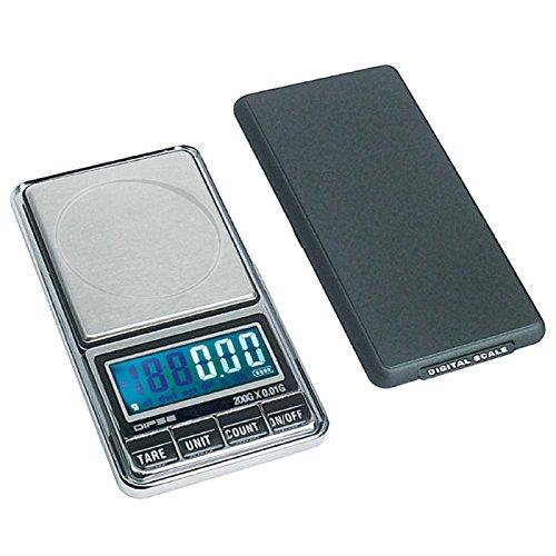 DIPSE USB 200 - Digitale Feinwaage/Taschenwaage mit USB-Anschluss ohne Abschaltautomatik die in 0,01g Schritten präzise bis 200g wiegt